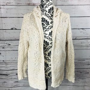 Gentle Fawn Open Front Hooded Cardigan Sweater S
